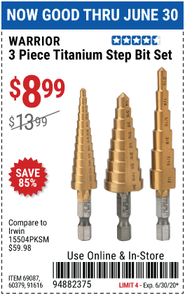 Titanium High Speed Steel Step Bit Set, 3 Pc.
