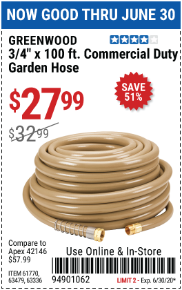3/4 in. x 100 ft. Commercial Duty Garden Hose