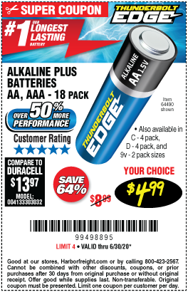 AAA Alkaline Batteries, 18 Pk.