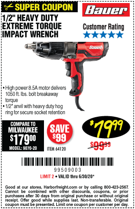 8.5A Corded 1/2 in. Heavy Duty Extreme Torque Impact Wrench