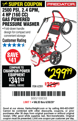 2500 PSI, 2.4 GPM, 4 HP (160cc) Pressure Washer EPA/CARB