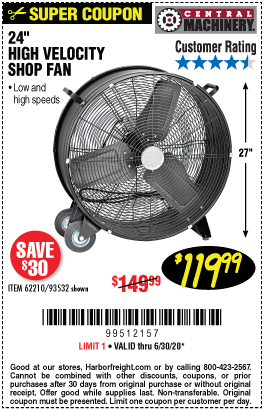 24 in. High Velocity Shop Fan