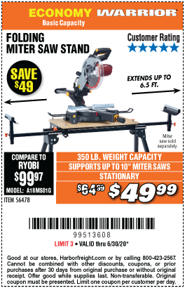 Universal Folding Miter Saw Stand for Saws Up to 10 In.