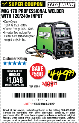 MIG 170 Professional Welder with 120/240 Volt Input
