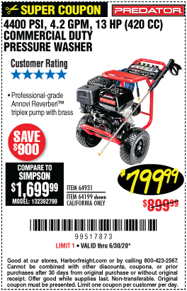 4400 PSI, 4.2 GPM, 13 HP (420cc) Commercial Duty Pressure Washer CARB