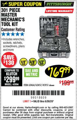 Mechanic's Tool Set 301 Pc.