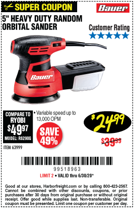 2.8 Amp, 5 in. Random Orbital Palm Sander