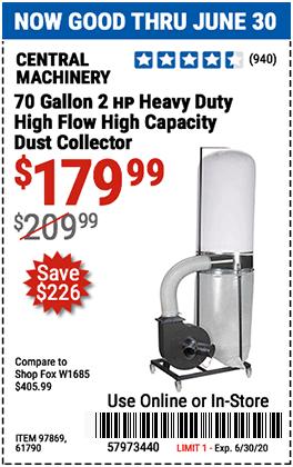 70 gallon 2 HP Heavy Duty High Flow High Capacity Dust Collector