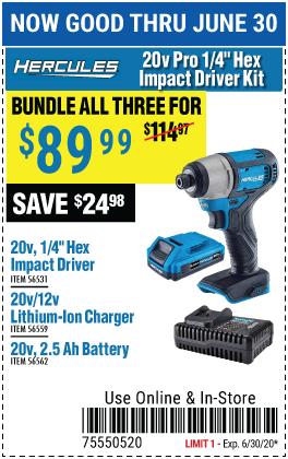 Buy Hercules Hex Impact;Battery; Chrger as Kit