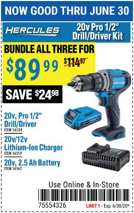 Buy Hercules Driver/Driver;Battery; Chrger as Kit