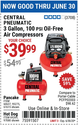 3 gallon 1/3 HP 100 PSI Oil-Free Pancake Air Compressor