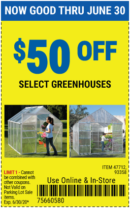 $50 off Select Greenhouse (2 skus only)