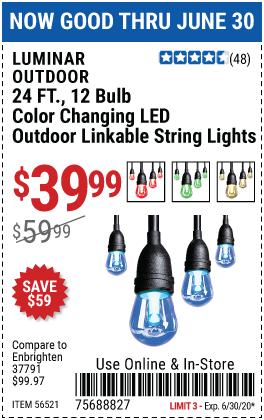 12 Bulb Color Changing LED String Lights