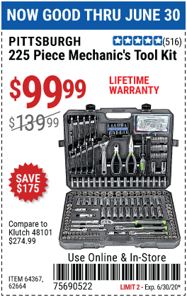 Mechanic's Tool Kit 225 Pc.