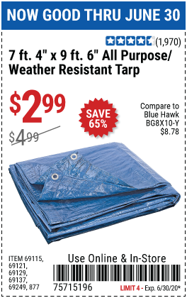 7 ft. 4 in. x 9 ft. 6 in. Blue All Purpose/Weather Resistant Tarp