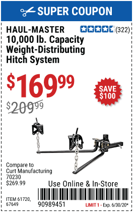 10000 lb. Capacity Weight-Distributing Hitch