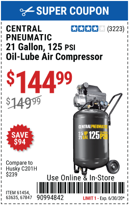 21 gallon 2.5 HP 125 PSI Cast Iron Vertical Air Compressor