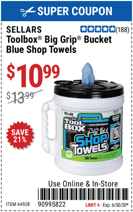 TOOLBOX® Big Grip® Bucket Blue Shop Towels