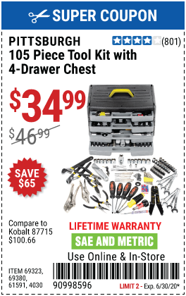 Tool Kit with 4-Drawer Chest, 105 Pc.