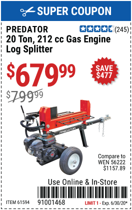 20 ton 212cc Log Splitter