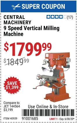 9 Speed Vertical Milling Machine