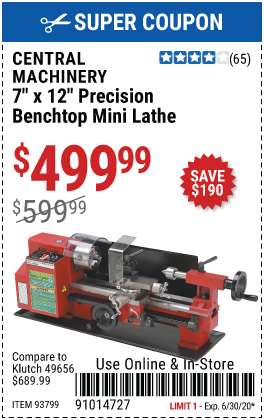 7 in. x 12 in. Precision Benchtop Mini Lathe