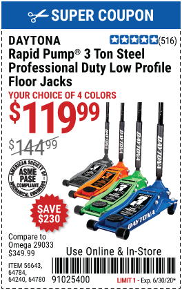 3 Ton Low Profile Professional Rapid Pump® Floor Jack - Blue