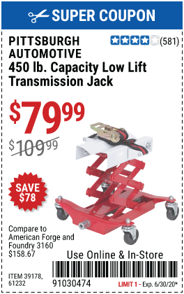 450 lbs. Low Lift Transmission Jack