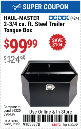 2-3/4 cu. ft. Steel Trailer Tongue Box