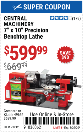 7 in. x 10 in. Precision Benchtop Mini Lathe