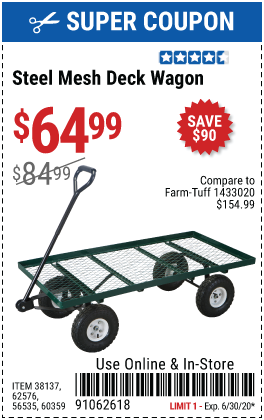 1,000 Lb. Mesh Deck Steel Wagon