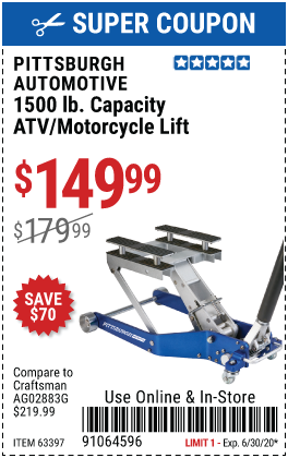 1500 lb. Capacity ATV / Motorcycle Lift