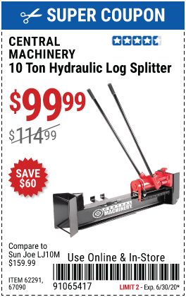 Central Machinery 10 Ton Hydraulic Log Splitter For 99 99 Harbor Freight Coupons