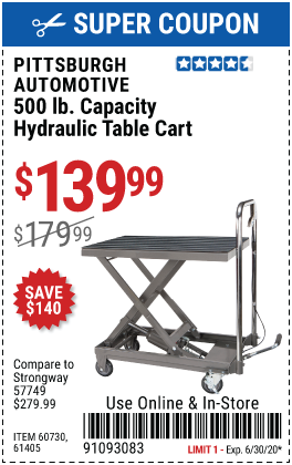 500 lbs.  Capacity Hydraulic Table Cart