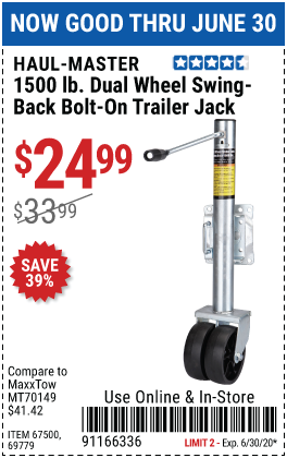 1500 lb. Dual Wheel Swing-Back Bolt-On Trailer Jack
