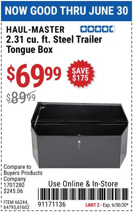 2.31 cu. ft. Steel Trailer Tongue Box
