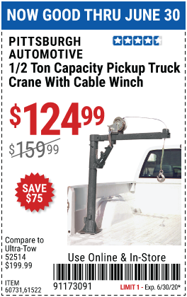 Pickup Truck Bed Crane with Hand Winch - 1000 lb. Capacity