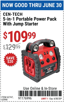 5-In-1 Power Pack With Jump Starter, Compressor, and Power Inverter