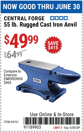 55 Lb. Rugged Cast Iron Anvil
