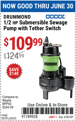 1/2 HP Submersible Sewage Pump with Tether Switch