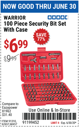Security Bit Set with Case, 100 Pc.