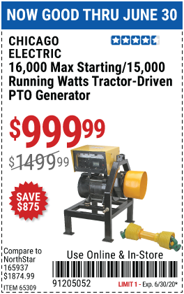 16000 Max Starting/15000 Running Watts Tractor-Driven PTO Generator