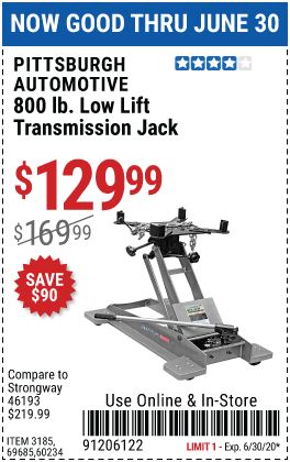 800 lbs. Low Lift Transmission Jack