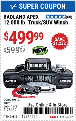 APEX Synthetic 12,000 lb. Wireless Winch