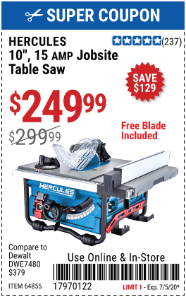 10 in., 15 Amp Compact Job Site Table Saw
