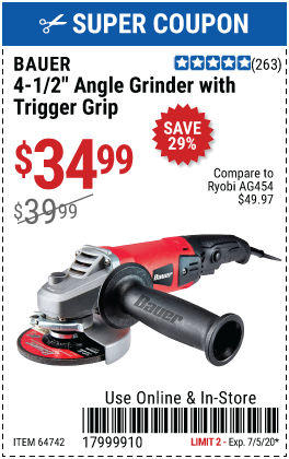 Corded 4-1/2 in. 8 Amp Heavy Duty Trigger Grip Angle Grinder with Tool-Free Guard