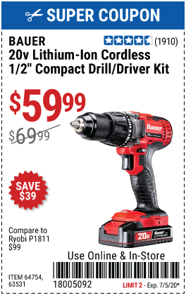 20V Hypermax™ Lithium-Ion Cordless 1/2 in. Drill/Driver Kit with 1.5 Ah Battery, Rapid Charger~ and Bag