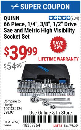 66 Pc 1/4 in., 3/8 in.~ 1/2 in. Drive SAE & Metric Hi-Vis Socket Set