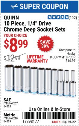 1/4 in. Drive SAE Chrome Deep Socket, 10 Pc.