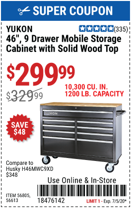 46 in. 9-Drawer Mobile Storage Cabinet with Solid Wood Top - Black